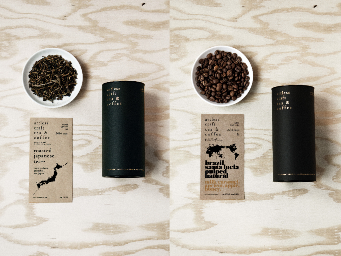 「artless craft tea & coffee」のコーヒー豆と茶葉