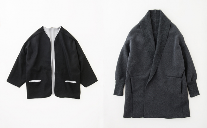 「urrya(ユライヤ)」のノーカラージャケットとカシミヤコート