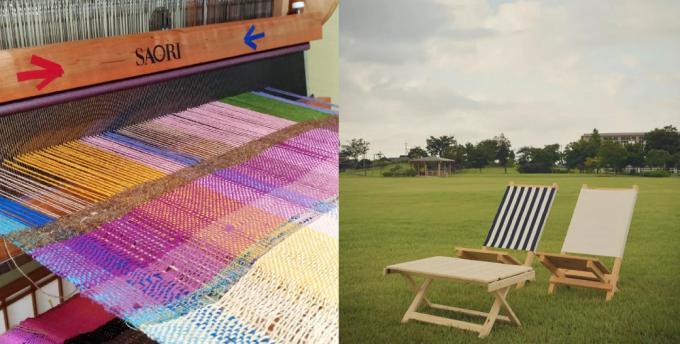 「うみのアパルトマルシェ」のワークショップでつくれるできるさをり織りとローテーブル