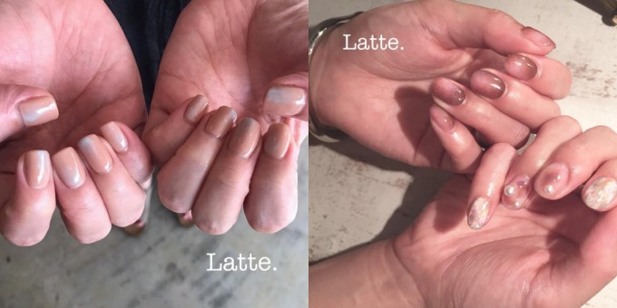 ネイルサロン「Latte.」のヌーディーカラーネイル2種類
