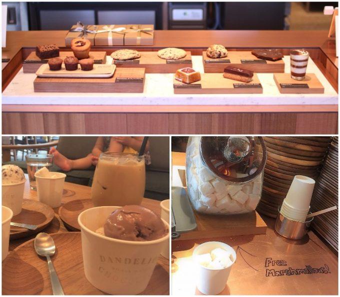 「ダンデライオン・チョコレート ファクトリー&カフェ蔵前」のチョコレートとほうじ茶、チョコチップミルクと玄米茶の写真