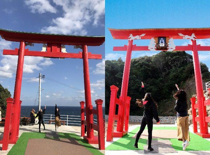 日本一入れにくい賽銭箱がある「元乃隅稲成神社」