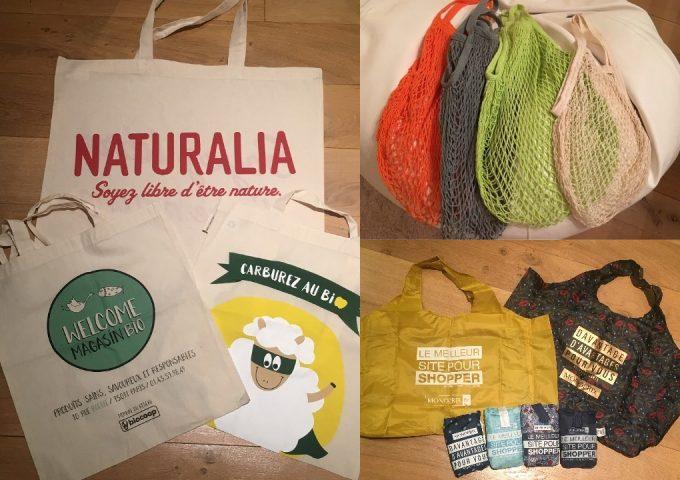 写真左から布製エコバッグ(各1.5~3ユーロ)、ノーブランドのネットバッグ(5ユーロ前後)、「MONOPRIX」エコバッグ(各1.5ユーロ)