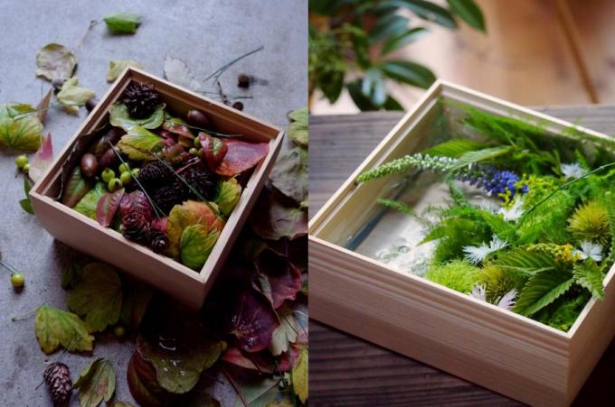 花屋「みたて」の木箱に入ったフラワーアレンジメント