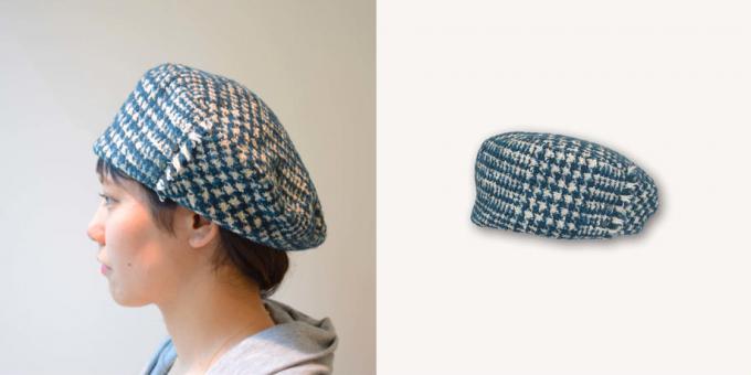 「PUT ON(プットオン)」の2017秋冬新作の千鳥柄ベレー帽