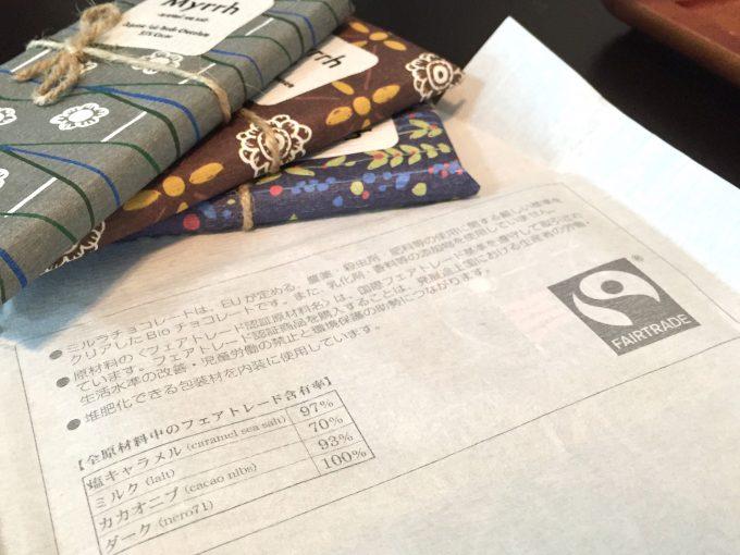 「ミルラチョコレート」の包み紙には詳しく情報が記載されている
