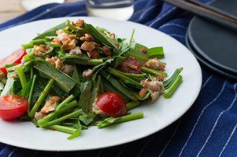 〈旬レシピ〉シャキシャキ食感が楽しい「サラダ空芯菜とツナの中華風レモンナッツサラダ」