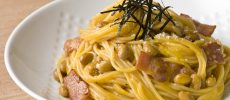 「納豆カルボナーラ」のレシピ