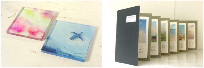 『透明アクリルパネル』と『活版カレンダーアコーディオンアルバム』の写真