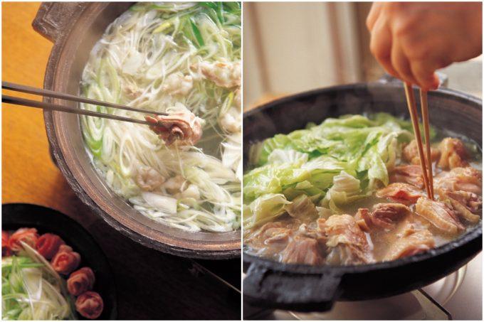 「豚とねぎのしゃぶしゃぶ」と『鶏とキャベツの水炊き風』の写真