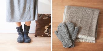 寒い日のお出かけや、お家の寒さ対策に。ネパール生まれのニット手袋&靴下