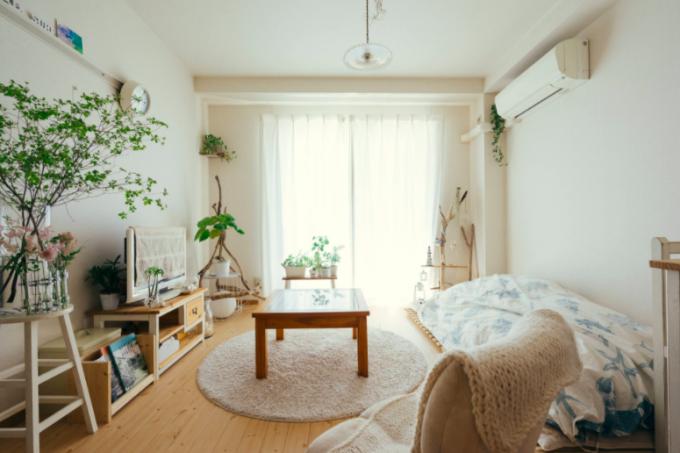 背の低い家具を使ったワンルームの内観