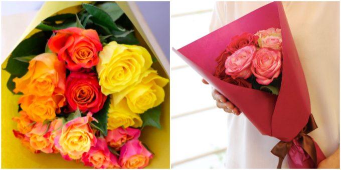 「AFRIKA ROSE」の『ビッグスマイル』、『あったかい想い出』と名付けられた花束