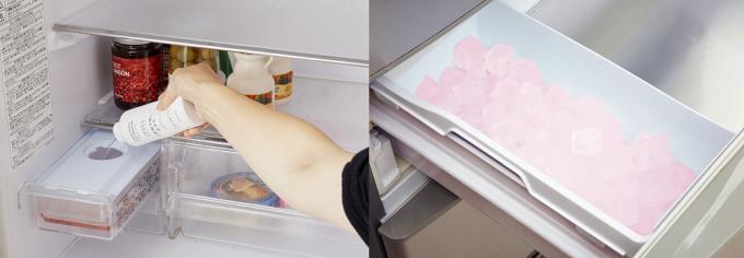 「木村石鹸」の自動製氷機用の洗剤を使用しているところ