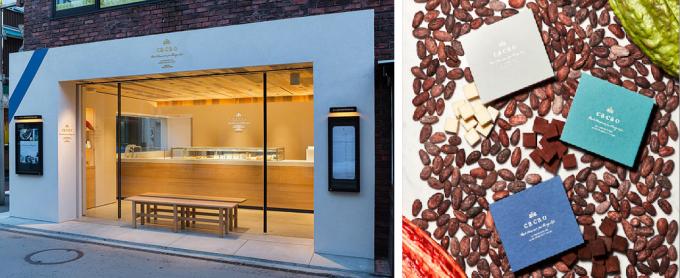 チョコレート専門店「ca ca o(カカオ)」の店頭と、チョコレートの写真
