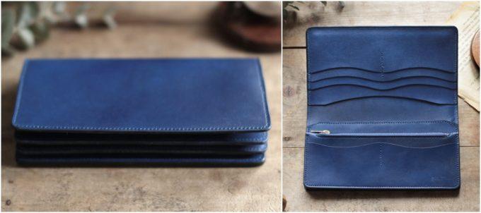 藍染革『migaki』を使ったenku定番の長財布