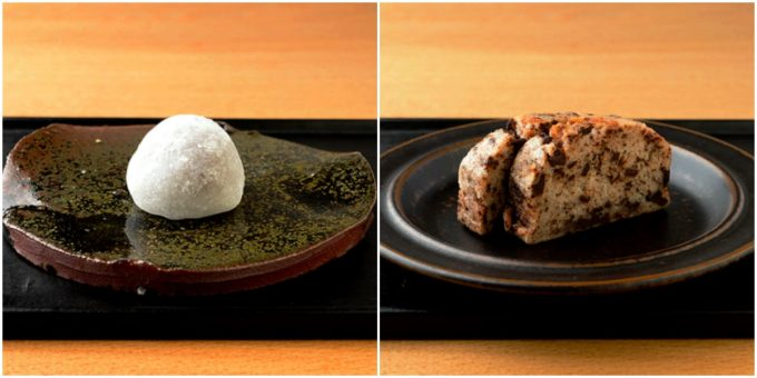 「knot café」の『チョコレート大福』と『KITANO BROWNIE』の写真