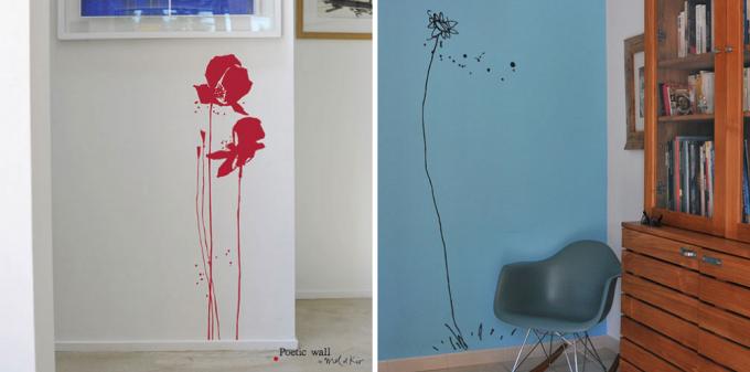 独特なタッチで描かれたお花のウォールステッカーの写真