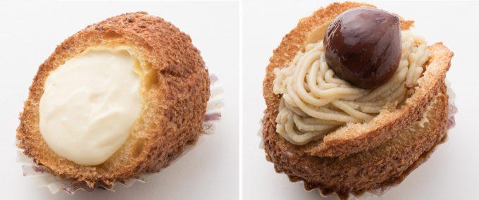 「ほっぷしゅうくりーむ」のシュークリーム『カスタード味』と『モンブラン味』の写真