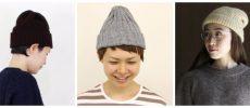 3種類のニット帽を着用している様子