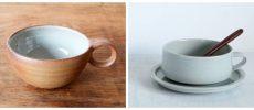 川尻製陶所のスープカップと、こいずみみゆきさんのスープカップの写真