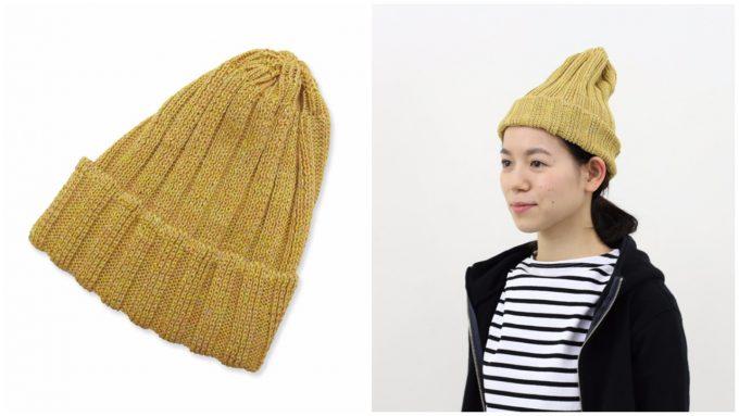 maillot(マイヨ)のマスタードな色合いのニット帽の写真