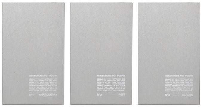 3種類のポプリのパッケージの写真
