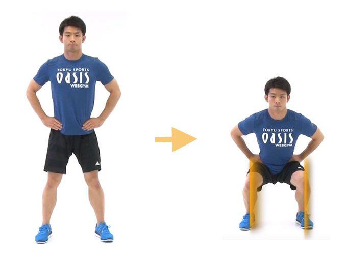 太ももの前面とお尻の筋肉を鍛えるエクササイズ「スクワット」をしているところ