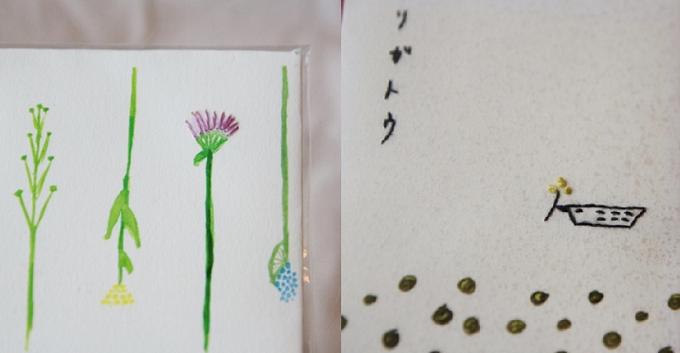 花びらや鳥のイラストを刺繍したbuchiのポチ袋の写真