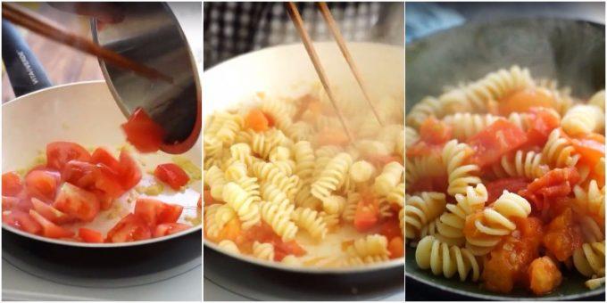 生姜の冷え性対策レシピ「トマトとジンジャーのパスタ」の写真