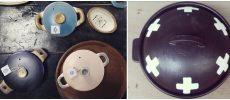 enfab陶芸ラボの土鍋と、宇田令奈さんの土鍋の写真