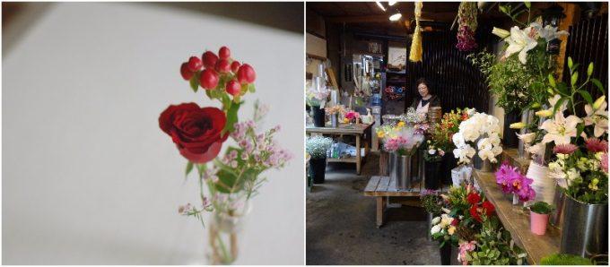 赤い花束と、花屋かずろう王国の花たちの写真