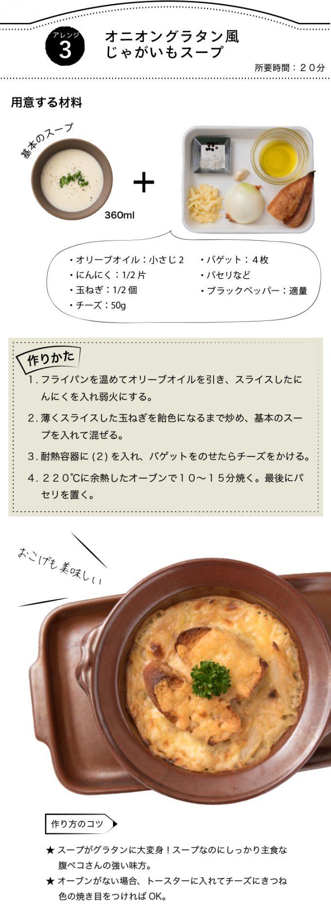 アレンジスープ【ローストチキンじゃがいもとチーズのソースがけ】レシピ