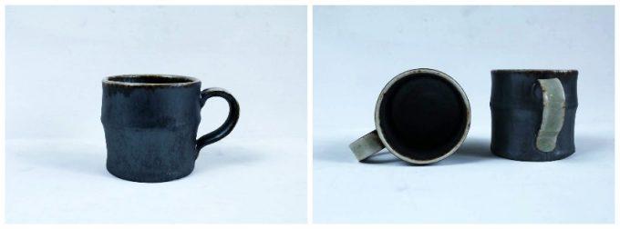 河内啓さんの作品、黒ビードロ釉 マグカップ