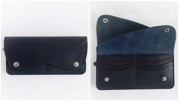 黒の革長財布、アーツアンドクラフツロングウォレット