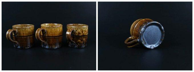 河内啓さんの作品、アメ釉 マグカップ