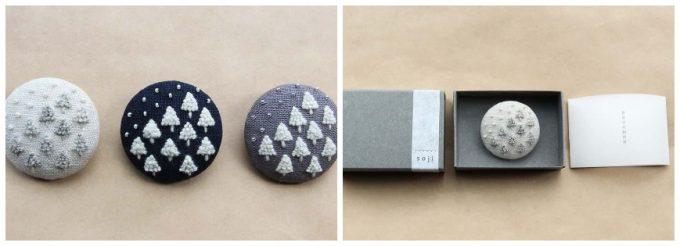 菅間岬さんの作品、ウール刺繍ブローチ