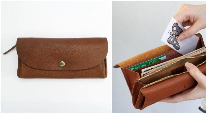 ポケットがいっぱいで使いやすい、サンク革の長財布