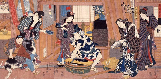 歌川国貞:「卯の花月」大判錦絵3枚続