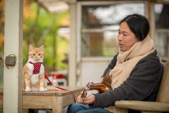ギターを弾く笹倉さんとかわいい子猫のトトちゃん