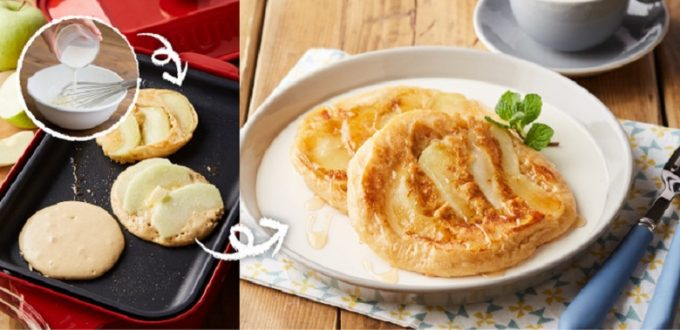 ホットプレートで作る「焼きりんごホットケーキ」