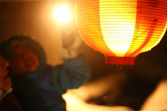 「白馬岩岳~冬の夜祭~」で灯される提灯