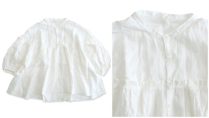 春ファッションにおすすめ。ふんわりとボリューム感ある白ブラウス