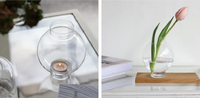 花瓶やキャンドルホルダーとして使えるガラスベース