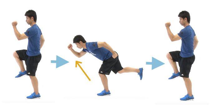 お尻、太ももの裏側、背筋を鍛えるエクササイズ「シングルレッグデッドリフト&ニー」の手順