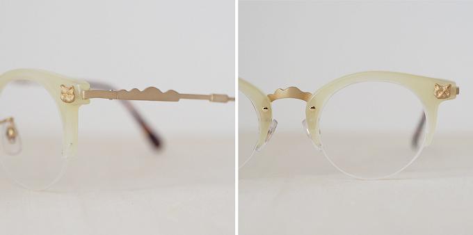 猫モチーフの眼鏡の細かいデザイン