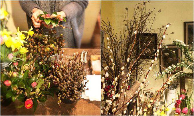 椿、ネコヤナギ、ゼンマイ 和花を使った花束を作る様子