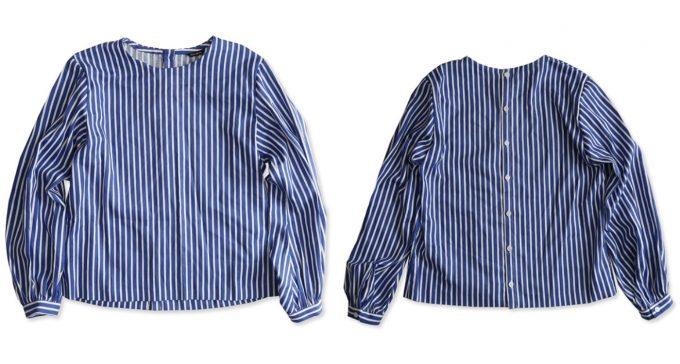 「OLDMANS TAILOR オールドマンズテーラー」のバルーンスリーブのストライプシャツ