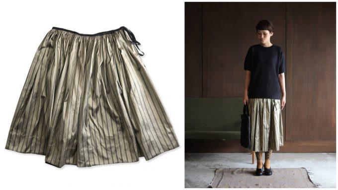 シルク×ゴールドの大人な雰囲気のスカート