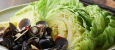 色鮮やかな緑色が食欲をそそる、キャベツとしじみの醤油ソース添え